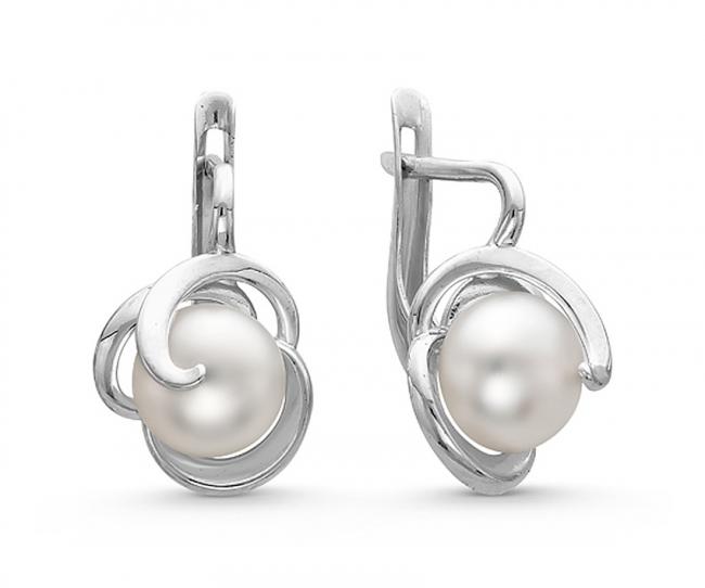 Серебряные серьги с жемчугом арт. с44-9120сж с44-9120сж
