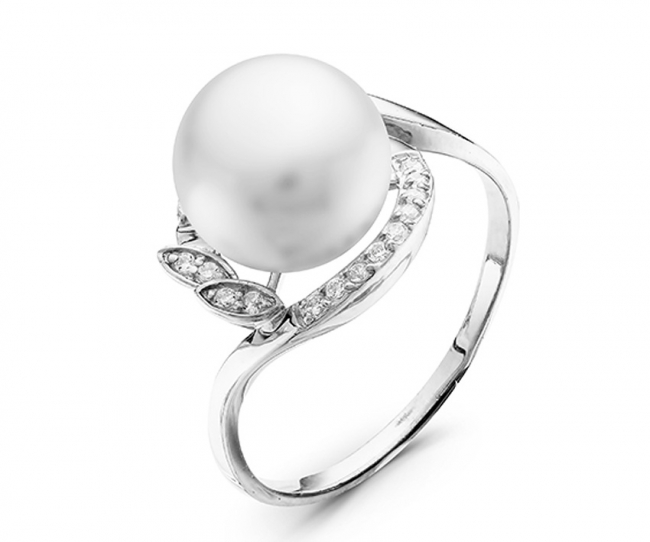Серебряное кольцо Жемчуг и Фианит арт. с44-9305кж-17.5 с44-9305кж-17.5