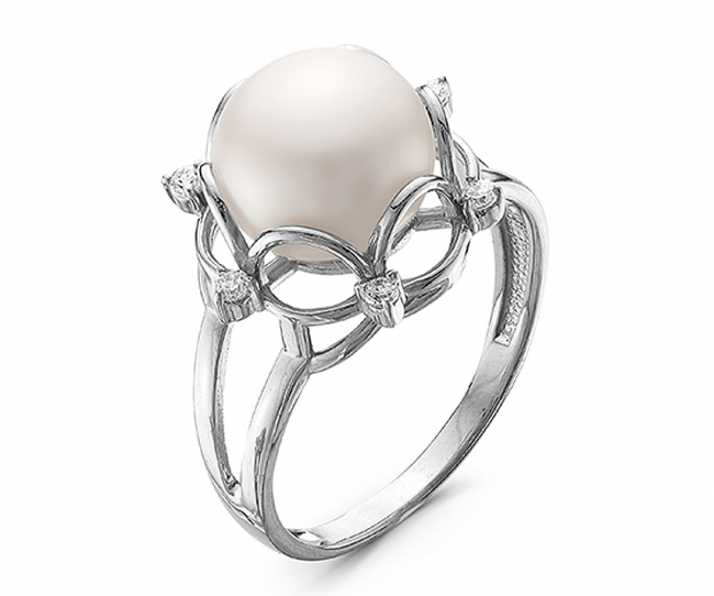 Серебряное кольцо Жемчуг и Фианит арт. с44-9374кж-19 с44-9374кж-19