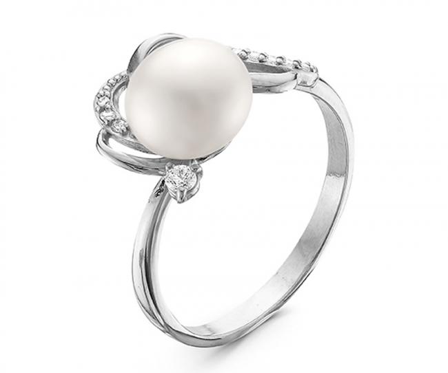 Серебряное кольцо Жемчуг и Фианит арт. с44-9377кж-16 с44-9377кж-16