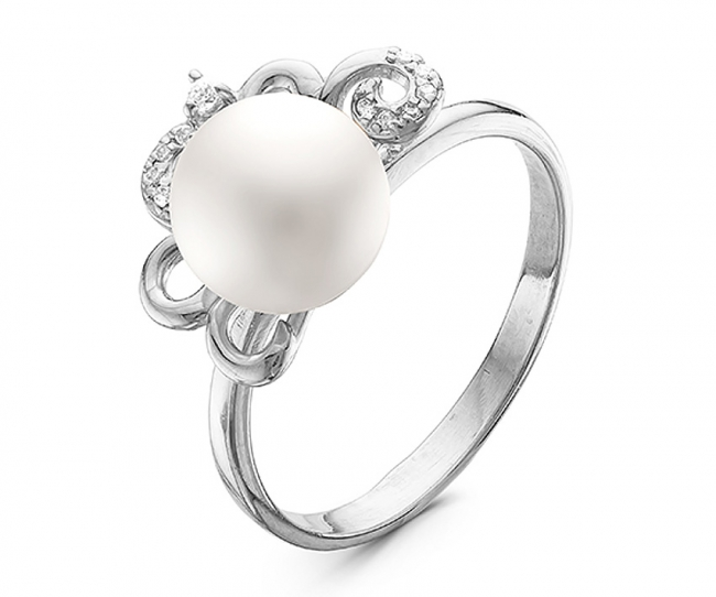 Серебряное кольцо Жемчуг и Фианит арт. с44-9390кж-17 с44-9390кж-17