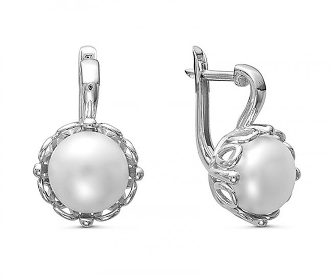 Серебряные серьги с жемчугом арт. с44-9473сж с44-9473сж