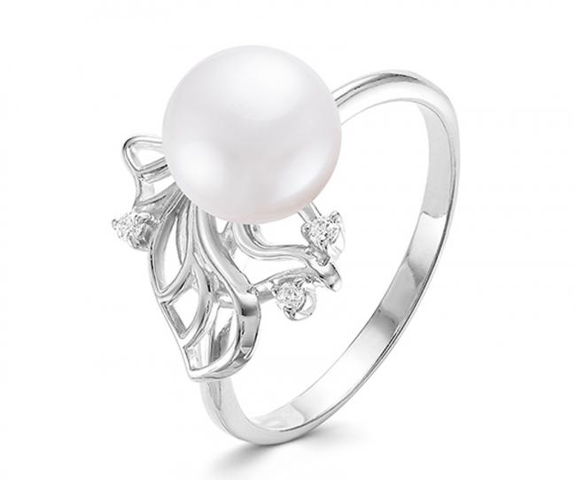 Серебряное кольцо Жемчуг и Фианит арт. с44-9600кж-17.5 с44-9600кж-17.5