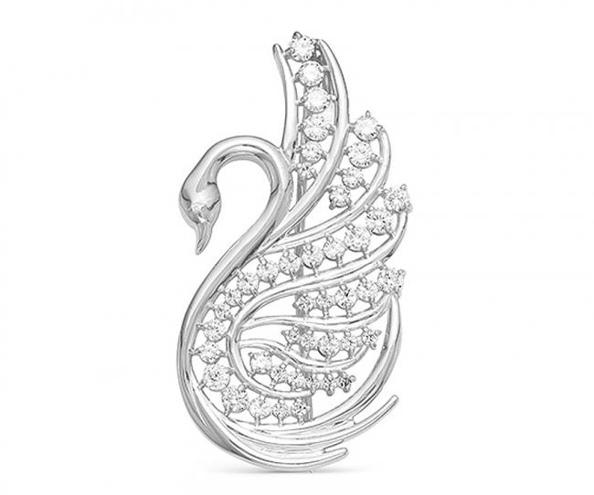Серебряная брошь с фианитом арт. с44-064ф с44-064ф