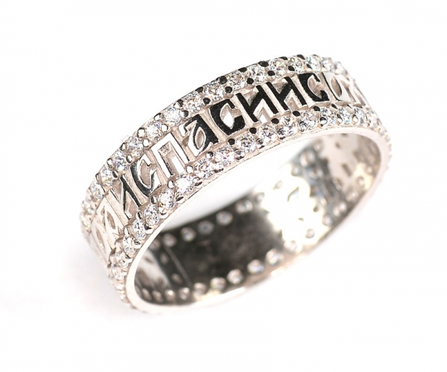 Обручальное кольцо из серебра с фианитом арт. с48-61566кф-18.5 с48-61566кф-18.5