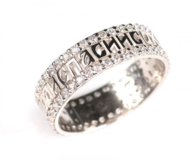 Обручальное кольцо из серебра с фианитом арт. с48-61566кф-19.5 с48-61566кф-19.5