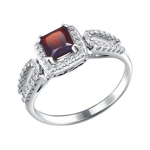 Серебряное кольцо Гранат и Фианит арт. 92010866 92010866