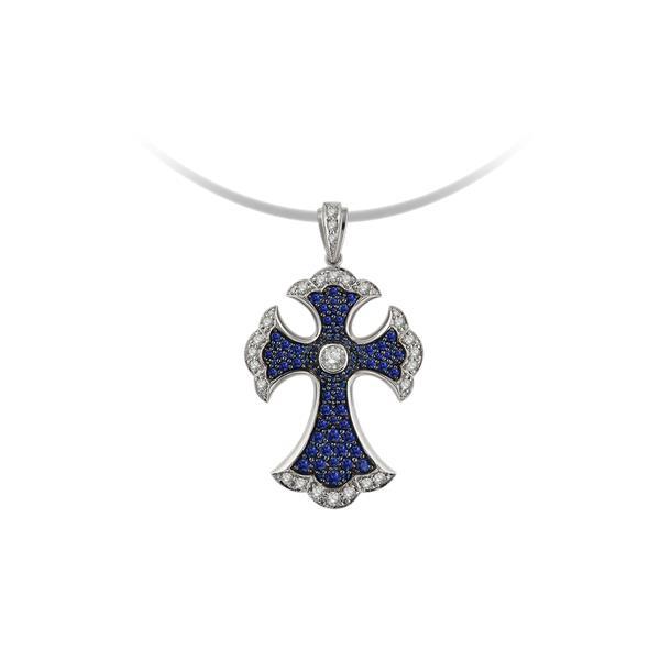 Крест из белого золота с бриллиантом и сапфиром арт. 6537038п 6537038п