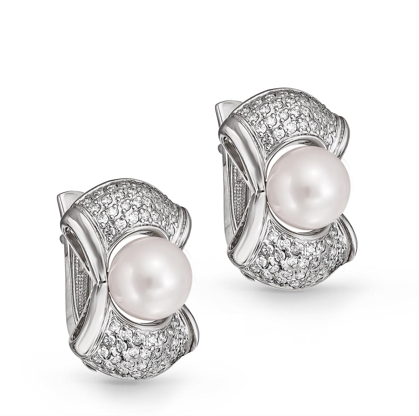 Серебряные серьги с жемчугом и кристаллом сваровски арт. 12-098-1500 12-098-1500
