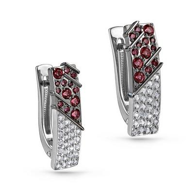 Серебряные серьги с кристаллом сваровски и фианитом арт. 12-193-30389 12-193-30389