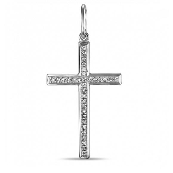 Крест из белого золота с бриллиантом арт. j01-d-33583-w j01-d-33583-w