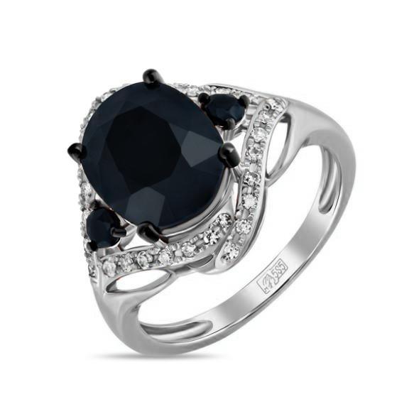 Кольцо из белого золота Бриллиант и Сапфир арт. r01-d-rr04003aks-r17 r01-d-rr04003aks-r17