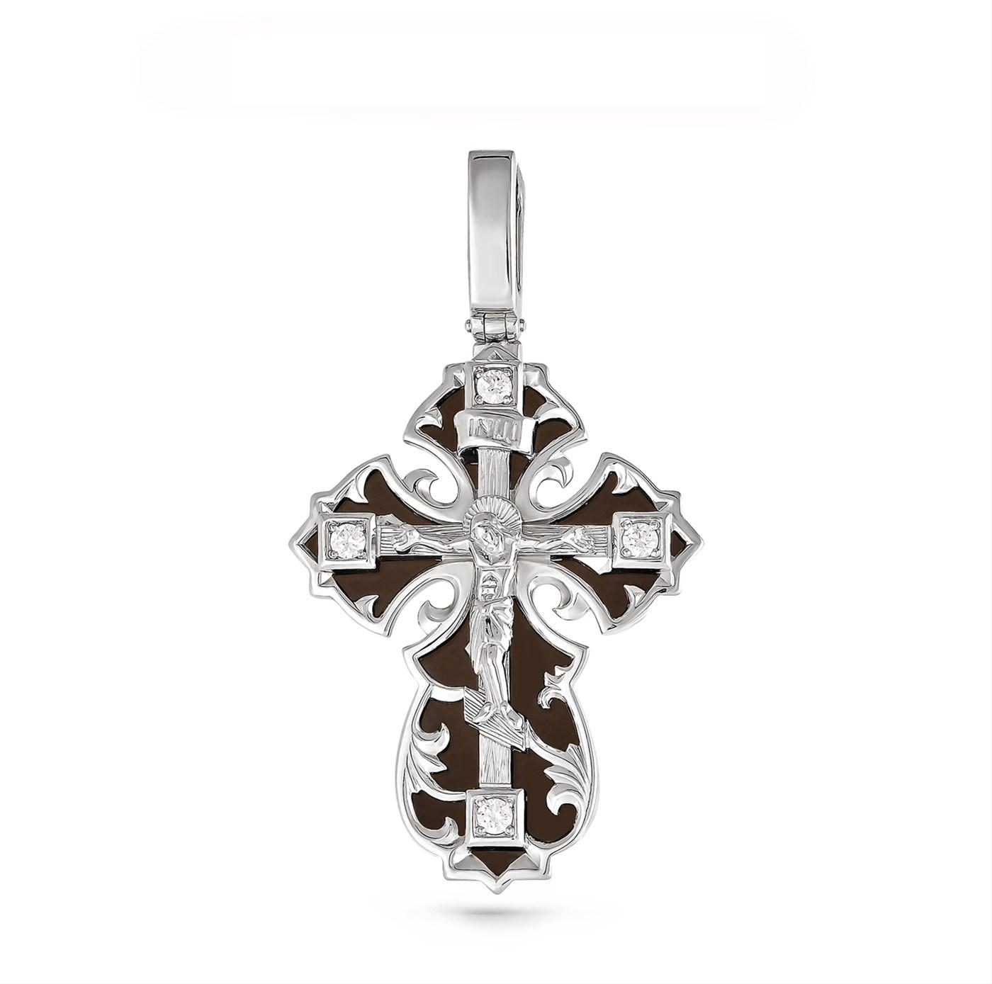 Серебряный крест с кристаллом сваровски и эмалью арт. 3-075-8102 3-075-8102