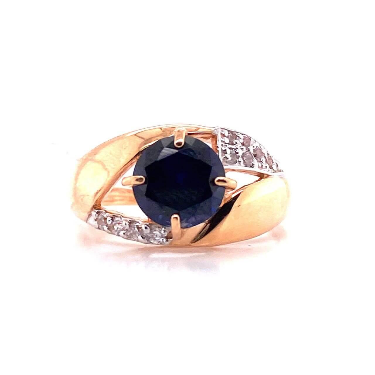 Золотое кольцо Сапфир и Фианит арт. 1-725 1-725