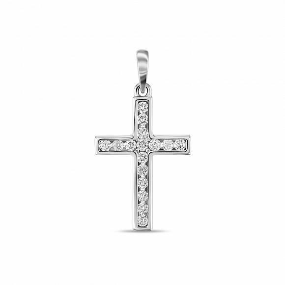 Крест из белого золота с бриллиантом арт. j01-33593 j01-33593