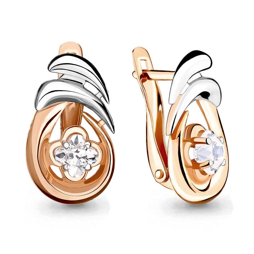 Золотые серьги с кристаллом сваровски арт. 43329 43329