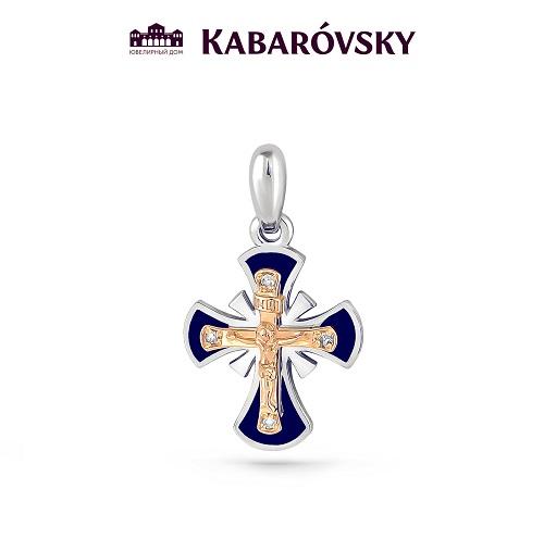 Серебряный крест с бриллиантом арт. 3-140-1007 3-140-1007
