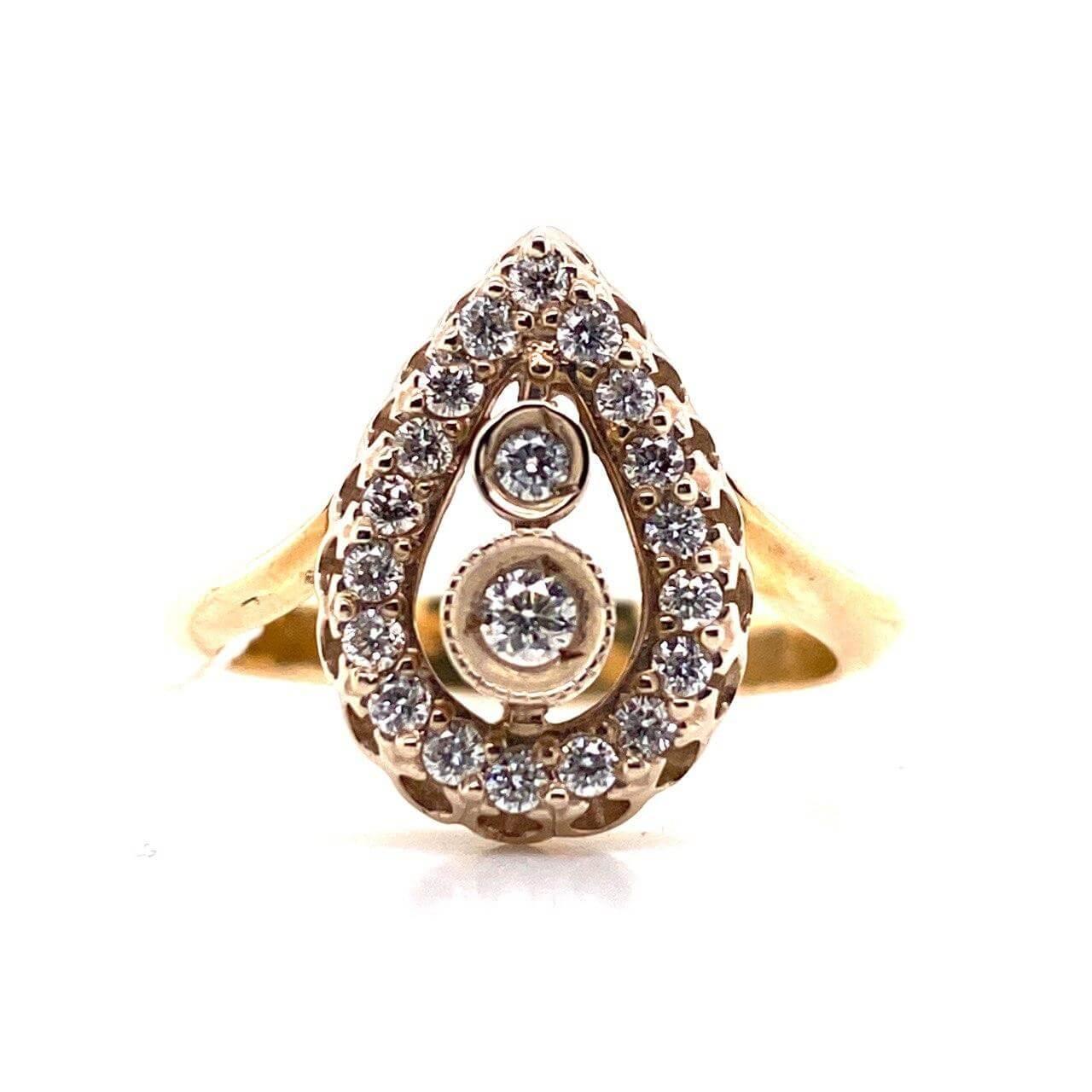 Кольцо из лимонного золота Бриллиант и Изумруд арт. 0158и 0158и
