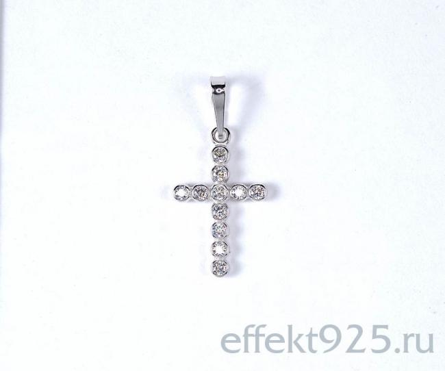 Серебряный крест с фианитом арт. с48-20009пф с48-20009пф