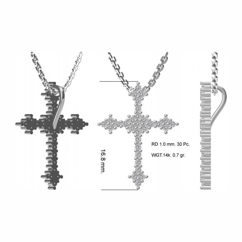 Серебряный крест с фианитом арт. 41350042 41350042
