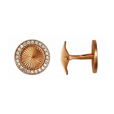 Золотые запонки с фианитом арт. 75058 75058
