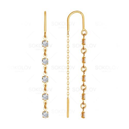 Серьги продевки из золота с фианитом арт. 022813 022813
