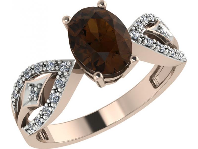 Золотое кольцо Раухтопаз и Фианит арт. 1022281-11130-р 1022281-11130-р
