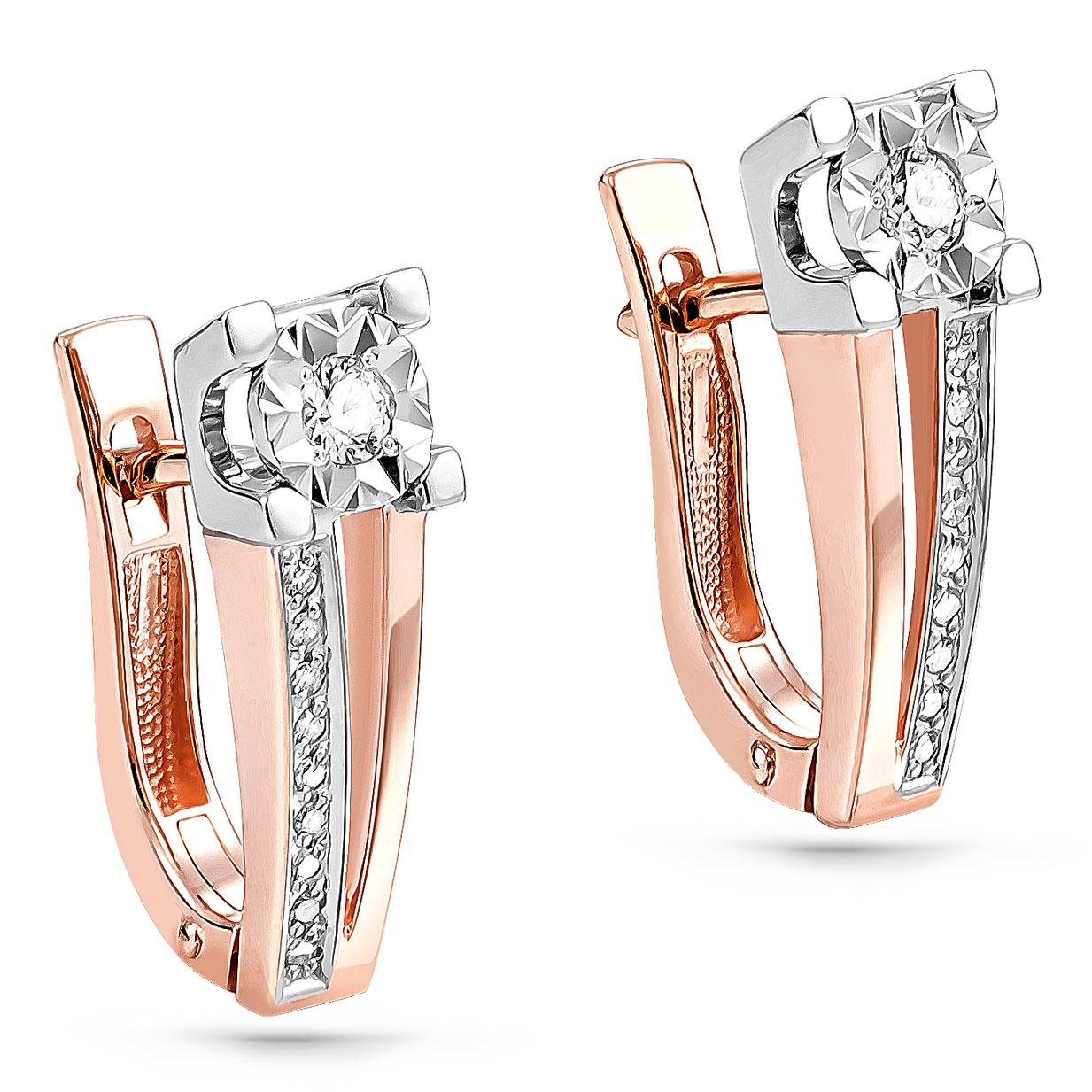 Золотые серьги с бриллиантом арт. 12-01104-1000 12-01104-1000
