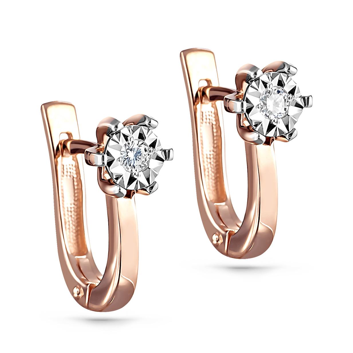 Золотые серьги с бриллиантом арт. 12-01123-1000 12-01123-1000