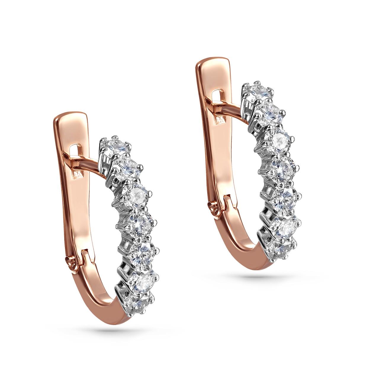 Золотые серьги с бриллиантом арт. 12-01128-1000 12-01128-1000