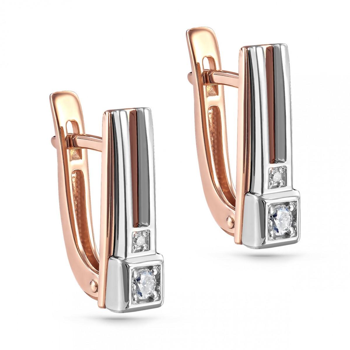 12-01253-1000 Золотые серьги с бриллиантом
