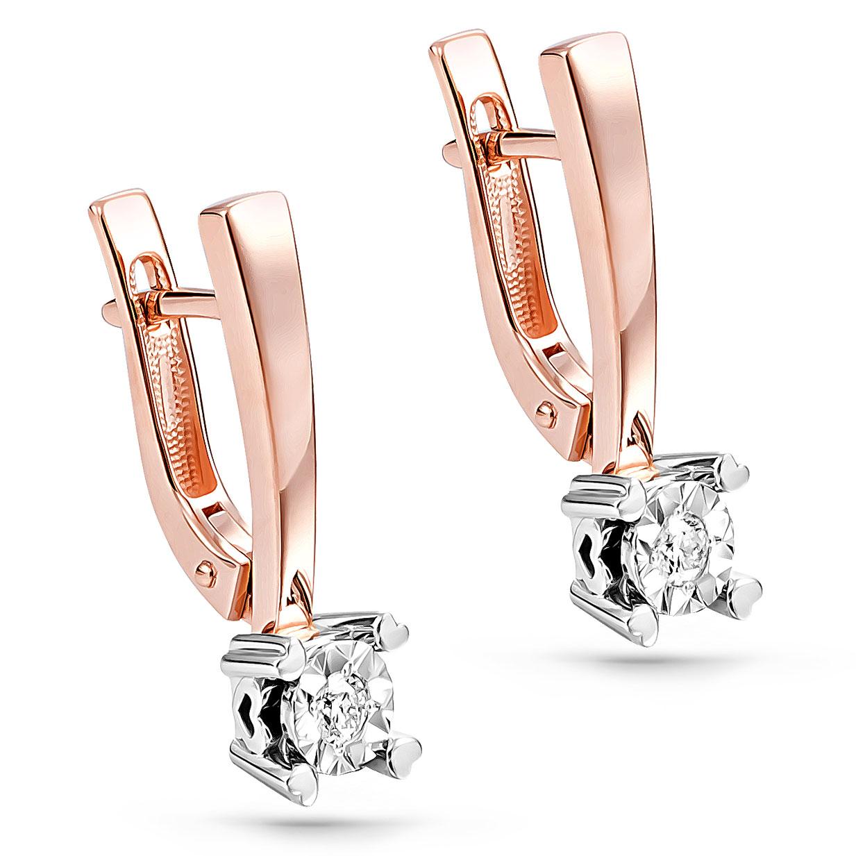 Золотые серьги с бриллиантом арт. 12-01102-1000 12-01102-1000