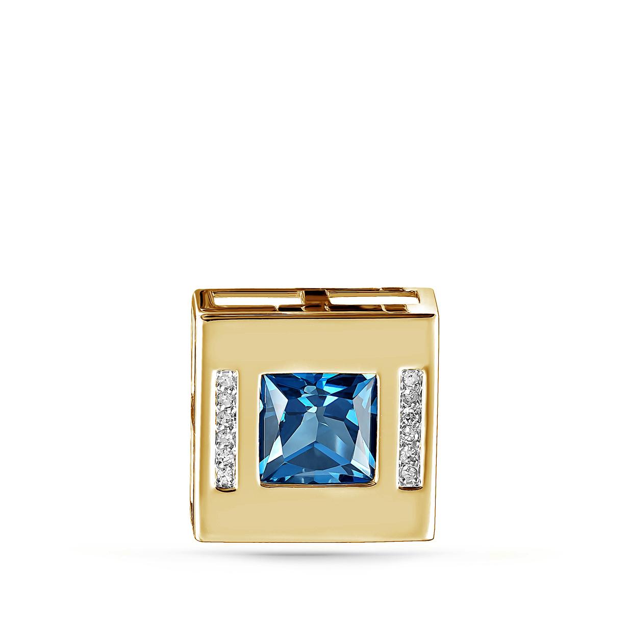 Подвес из лимонного золота с бриллиантом и топазом лондонским арт. 13-21181-2300 13-21181-2300