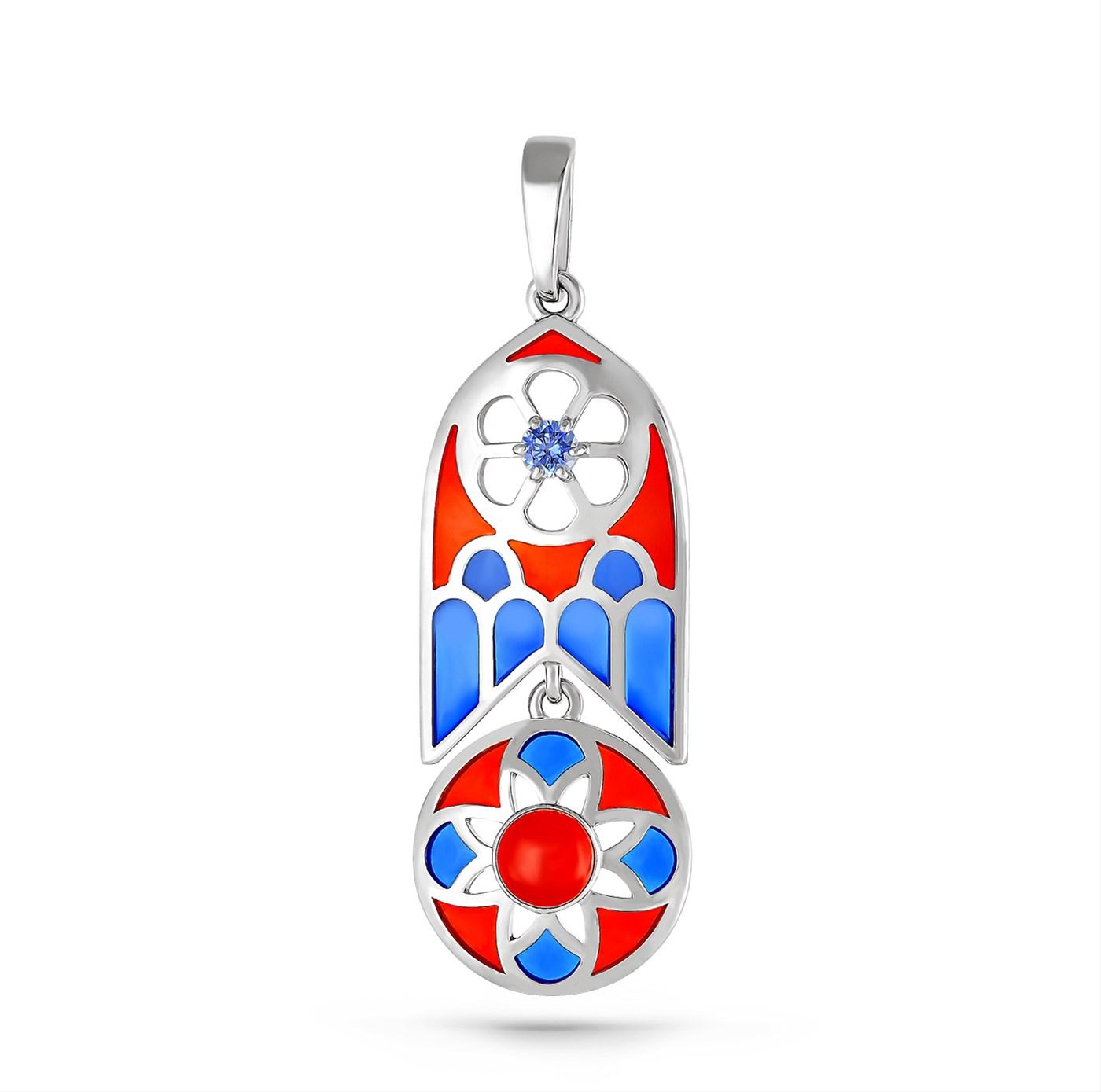 Серебряный подвес с кристаллом сваровски и ониксом арт. 13-127-6601 13-127-6601