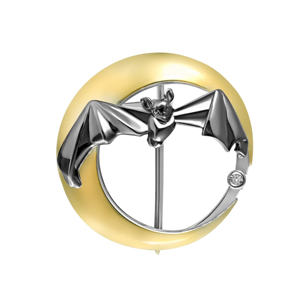 Серебряная брошь с фианитом арт. 5-028-7901 5-028-7901