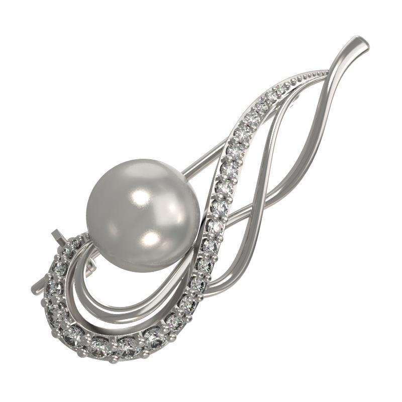 Серебряная брошь с жемчугом и фианитом арт. 1034144-01150 1034144-01150