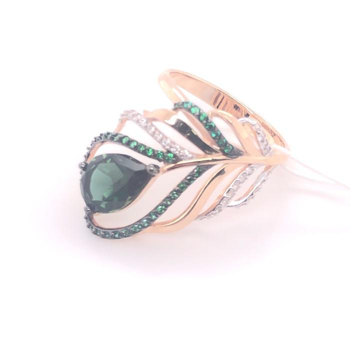 Золотое кольцо Турмалин и Фианит арт. 1-348 1-348