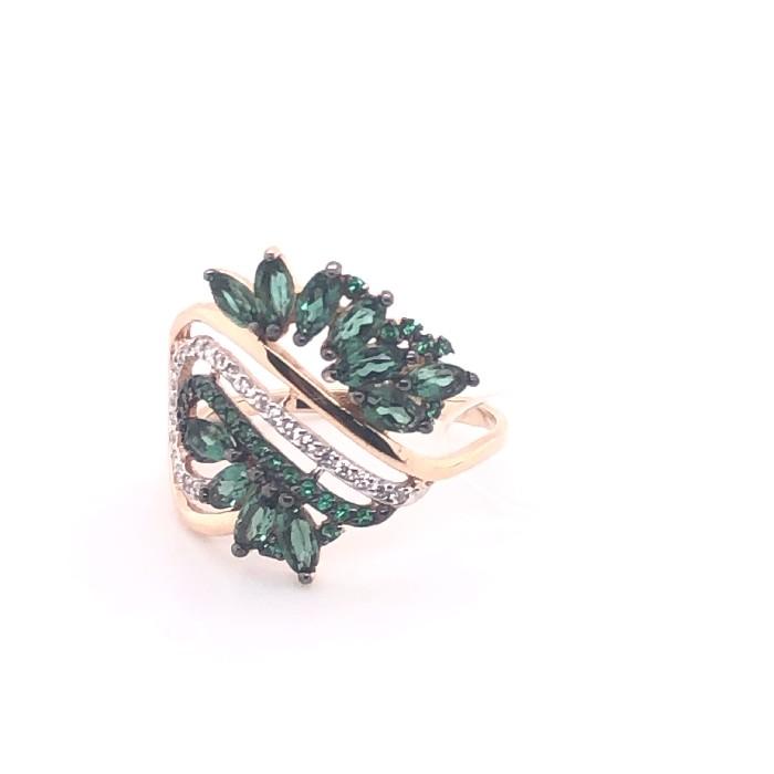 Золотое кольцо Турмалин и Фианит арт. 1-544 1-544