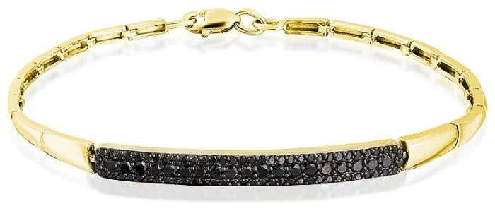 Браслет из лимонного золота с чёрным бриллиантом арт. 10-347-48 10-347-48