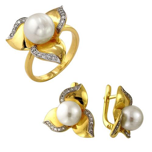 Кольцо из лимонного золота Бриллиант и Жемчуг арт. к-765-02 к-765-02