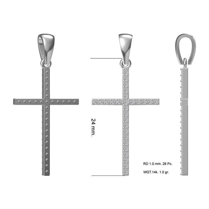 Серебряный крест с фианитом арт. 41350039 41350039