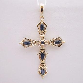 Золотой крест с бриллиантом и сапфиром арт. 810289кс 810289кс