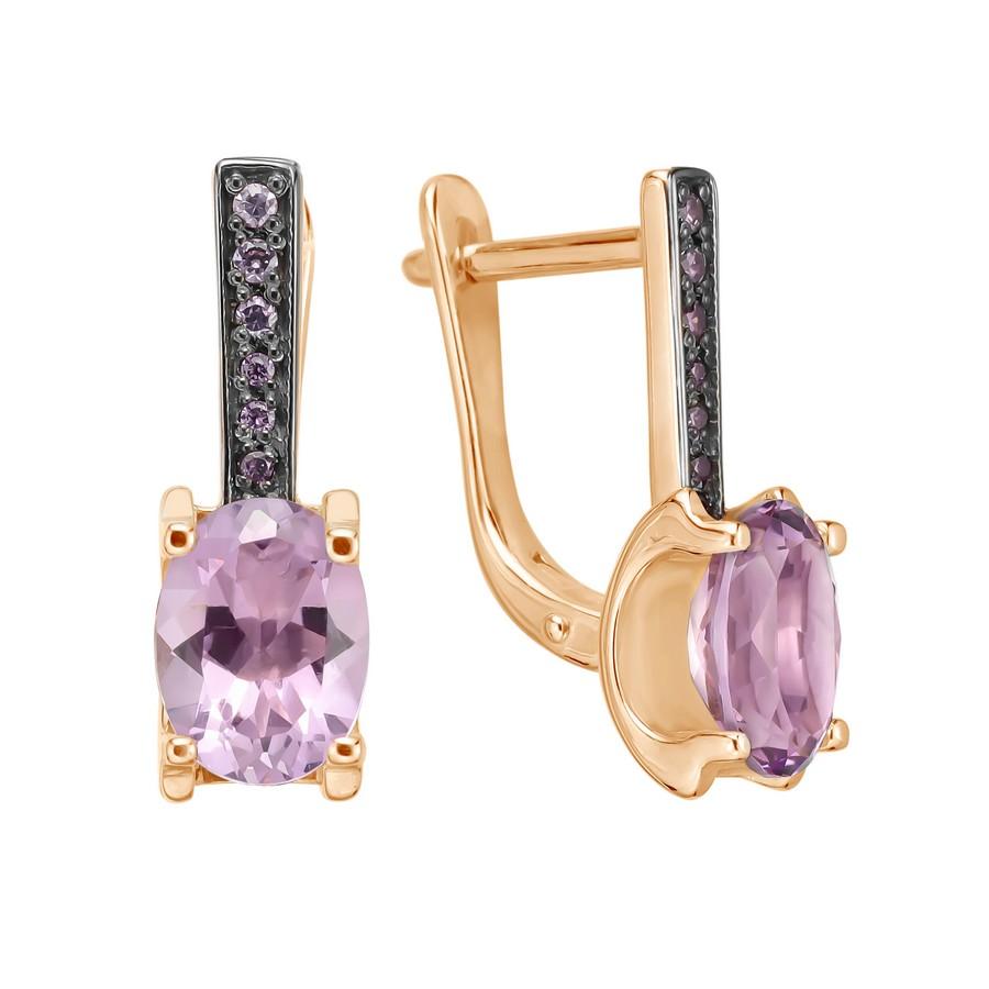 Золотые серьги с аметистом и цирконием 021503акц