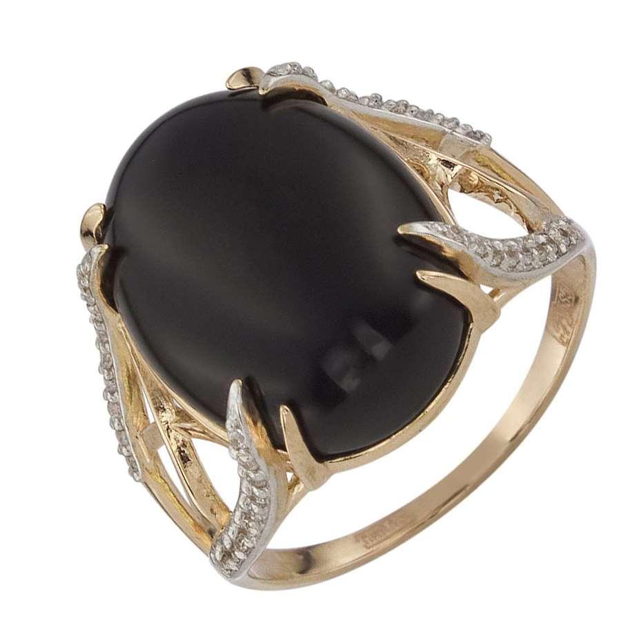 Золотое кольцо Оникс и Фианит арт. 011362ончкц 011362ончкц