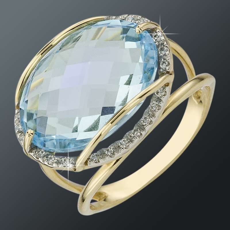 Золотое кольцо Топаз и Фианит арт. 011420ткц 011420ткц