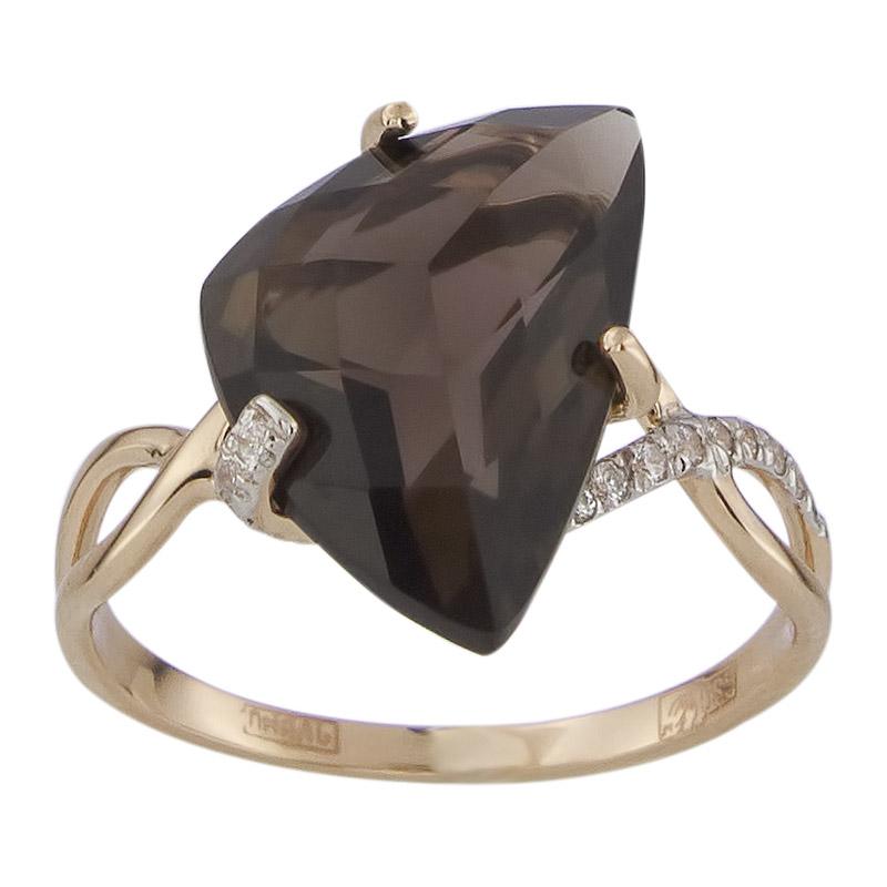 Золотое кольцо Раухтопаз и Фианит арт. 011448ркц 011448ркц