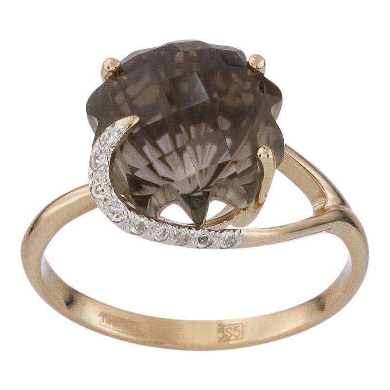 Золотое кольцо Раухтопаз и Фианит арт. 011483ркц 011483ркц