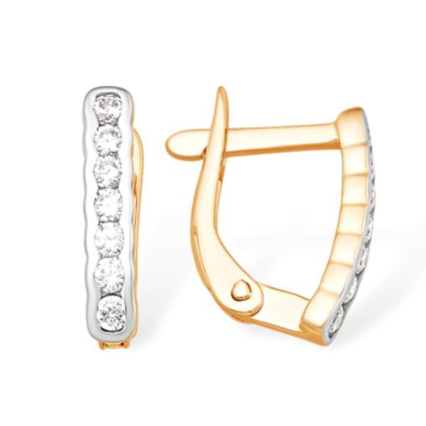 Золотые серьги с фианитом с13213499