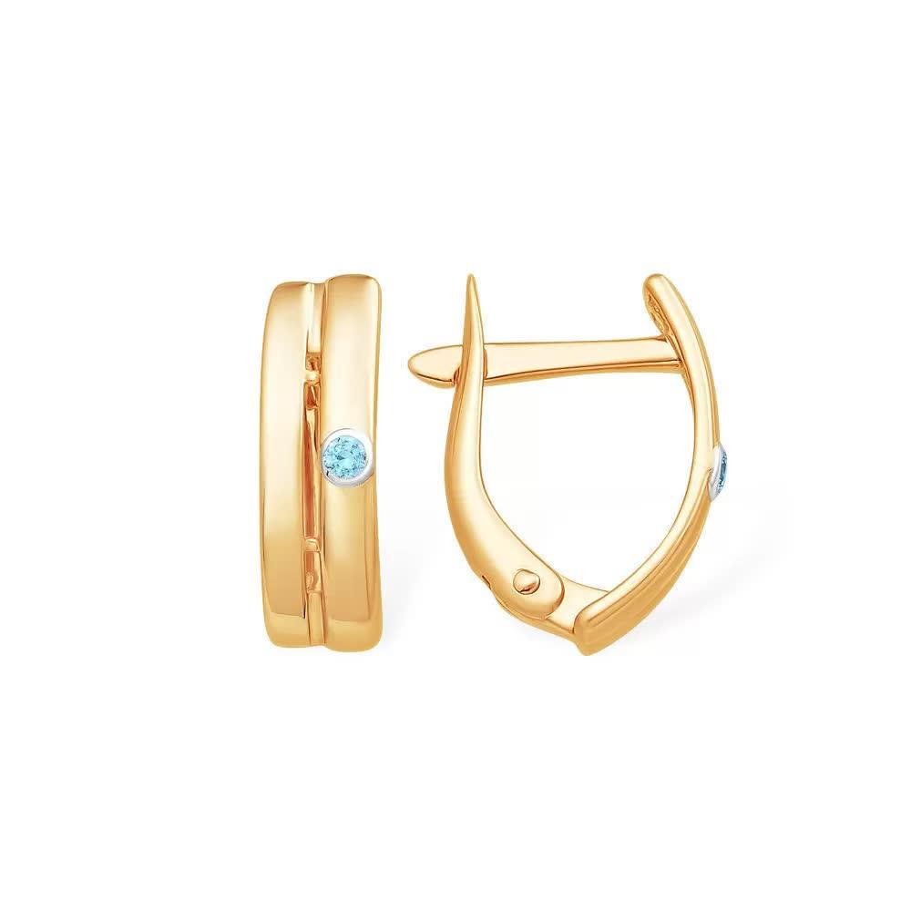 Золотые серьги с фианитом с13213575