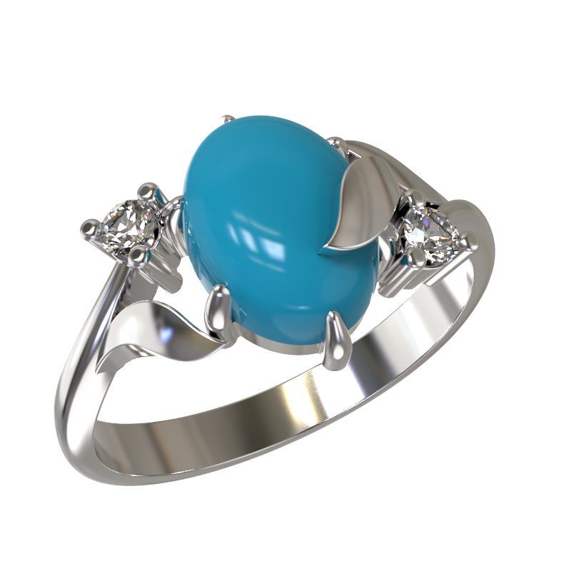 Серебряное кольцо Бирюза и Фианит арт. 1032441-01130-б 1032441-01130-б